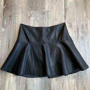 Free People 12 Black Faux Leather Mini Skirt Skate